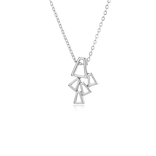 Elegant Geometric Square Bunch Pendant Necklace for Women and Girl ()