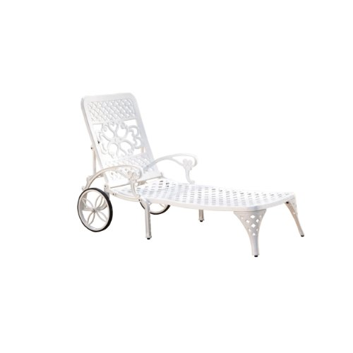 Home Styles Biscayne White Chaise Lounge Chair with Two Wheels, Four-way Adjustable Back, and Cast Aluminum Construction