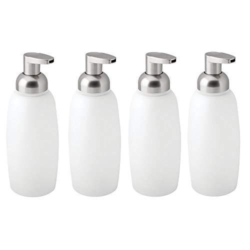 mDesign Modern Glass Refillable Foaming Soap Dispenser Pump Bottle for Bathroom Vanity Countertop, Kitchen Sink - Save on Soap - Vintage-Inspired, Compact Design - 4 Pack - Clear Frost/Brushed
