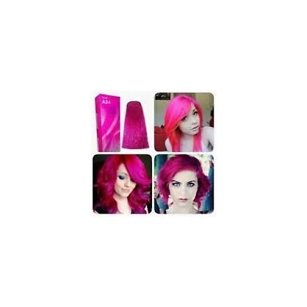 Berina Pink Magenta Hair Dye A24 Hair Color Cream Dye Pink Magenta 60 G. Super Permanent Fashion Unisex containing an innovative component which protects and provides glamor color to hair as desired