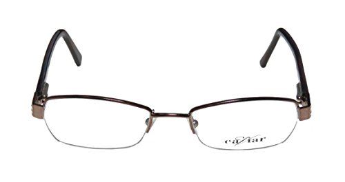 Caviar 5000 WomensLadies Designer Half-rim EyeglassesEye Glasses (49-16-130 Shiny Bronze  Red  Gray)