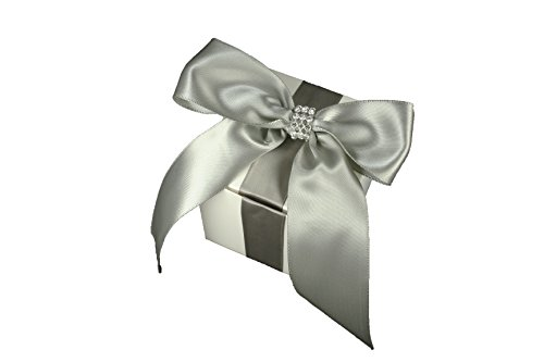 1 Box -- 3X3X3 inch Cube Favor Gift box with Satin Bow Ribbon and Rhinestone Trim Fully Assembled (SILVER (Rhinestone Cube)