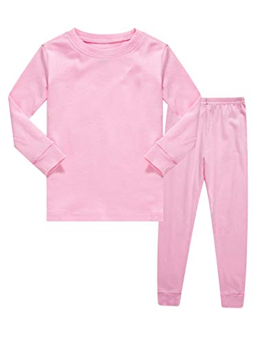 Kids Pajamas Boys & Girls Solid Colors 2 Piece Pajama Set 100% Cotton Pink Size 6