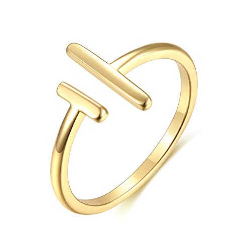 - Womens 14k Gold Starking Rings,Double X Criss Cross Open Bar Double Bar Parallel Cuff Half Circle Infinity Adjustable Ring Engagement Wedding Lady Girls Band(RING-2BAR-7)