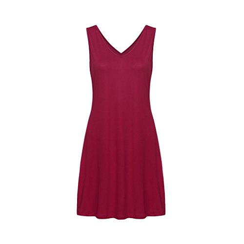 Mini Solid Red Summer Sexy KIMODO Neck Dress Wine Sleeveless Pocket Women V P8qUPxtw71