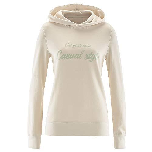 Femme Tops Chic Shirt Longues Lache Chemise Beige Imprimer Lettre Casual Blouse Top Sweat Manches Shirt Pull Manches Longues Pull Capuche Femmes xfwXpnS