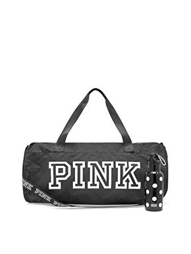Victoria 's Secret Black duffle bag PINK friday duffel bag with plastic water bottle
