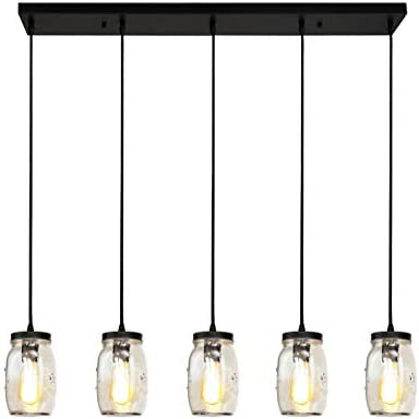 LONGWIND Mason Jar Light Fixture for Kitchen Island Lighting,5 Lights Linear Chandelier Glass Hanging Pendant Lights