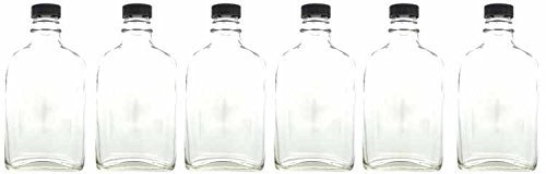 6.6 Ounce Flask (Home Brew Ohio 200 ml Glass Flask with Poly Seal Cap-6Count, Clear)