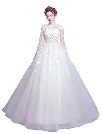 Daimer Woman's New Court Train Lace Applique Beading Beach wedding dresses Proms