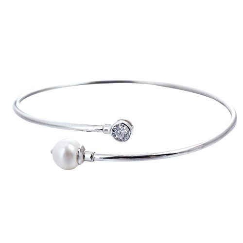 - Adstones Sterling Silver White Freshwater Cultured Pearl Tone Cuff Bangle Bracelet for Women