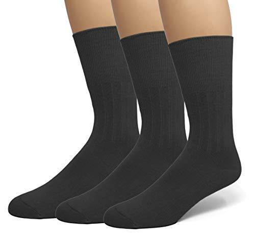 EMEM Apparel Men's Diabetic Circulatory Non-Binding Top Loose Top Casual Dress Crew Mid Calf Cotton Seamless Toe Hosiery Socks 3-Pack Black 10-13