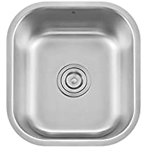 Z Series Stainless Steel Kitchen Bar Prep Sink Milan 13 x 14 5/8 Inch Undermount Single Bowl With Strainer