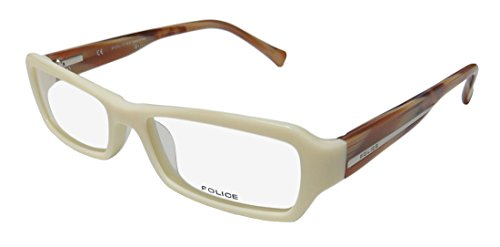Police V1696 Mens/Womens Designer Full-rim Flexible Hinges Eyeglasses/Eyeglass Frame (51-16-140, Ivory / Brown Horn) (Frames Glasses Police)