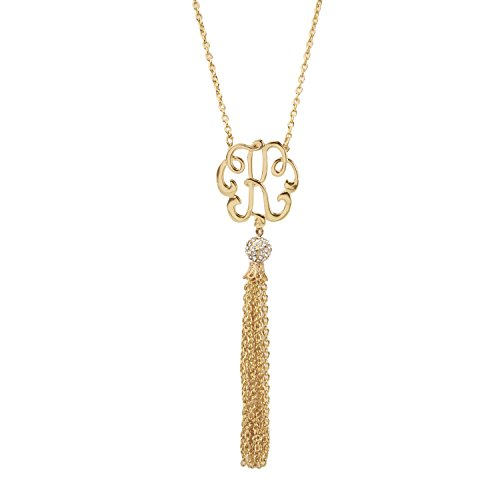 Pave Personalized Necklace - Occasionally Made Letter K Gold Monogram Tassel Necklace