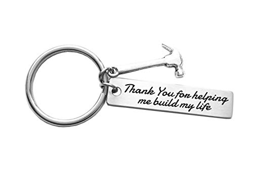 Father's Day Gift Thank You for Helping Me Build My Life Stainless Steel Hammer Keychain Birthday Gifts Christmas Gifts for Dad, Stepdad, Grandpa, Pastor, Teacher, Mentor (Gifts Thank Sentimental You)