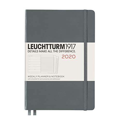 Anniversary Booklet - Leuchtturm1917 Anthracite, Weekly Planner and Notebook Med (A5) 2020 with extra booklet for anniversaries and addresses, English