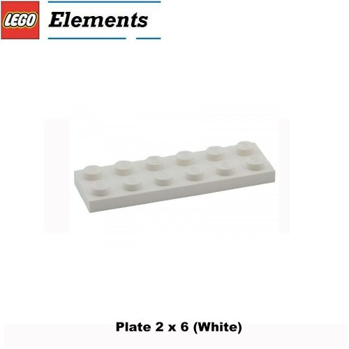 Lego Parts: Plate 2 x 6 (White)