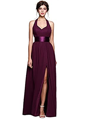 ANGVNS Women's Halter Neck Backless Chiffon Maxi Dress Bridesmaid Party Homecoming Prom Dresses Gown