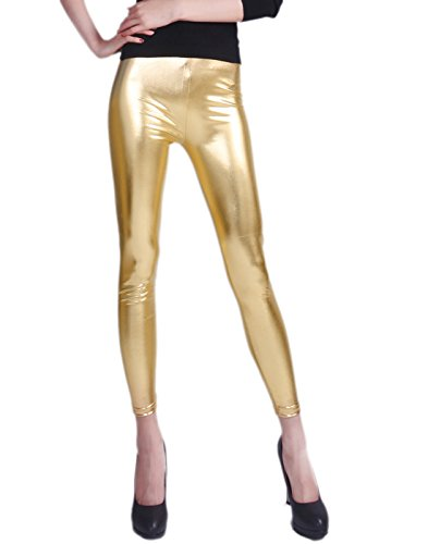 HDE Women Clubwear Shiny Liquid Wet Look Metallic Stretch Leggings - Plus Sizes Available (Gold, Small)