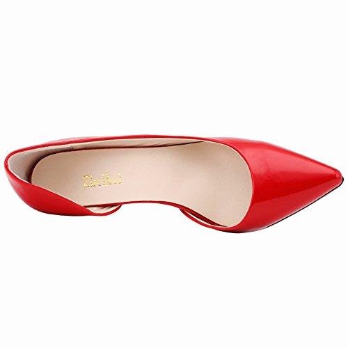 Fereshte Donna Elegante Dorsay Slip-toe Slip On Tacchi Alti Ol Pumps Rosso