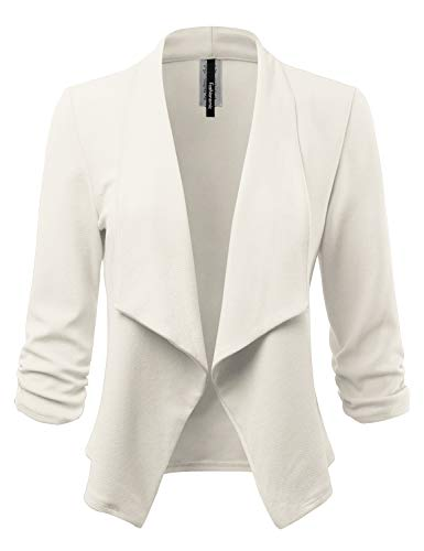 Women's Stretch 3/4 Gathered Sleeve Open Blazer Jacket (Made in USA) (CLBC001) Ivory M