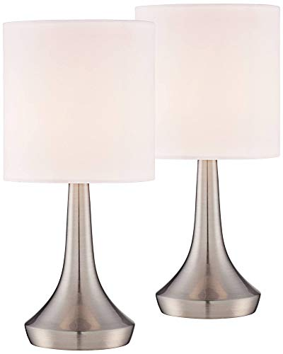 Zofia Modern Small Accent Table Lamps 13 High Set of 2 Touch On Off Brushed Steel White Drum Shade for Bedroom Bedside Office - 360 Lighting