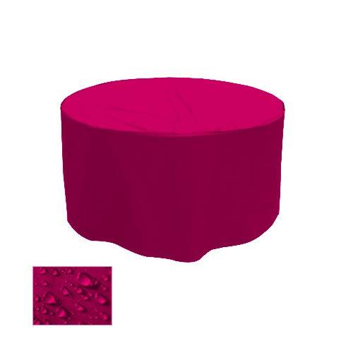 Holi Europe Premium Gartentisch Abdeckung Gartenmöbel Schutzhülle RUND ø 130cm x H 70cm Pink/Rosa