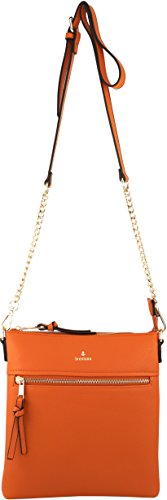 Crossbody Zipper Orange Strap Double Chain Bag with Vegan qT5waxE6B
