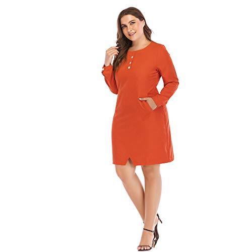 Baronhong Taille Plus Robe Crayon Col Rond Avec Poche D'orange