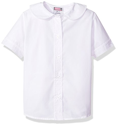 Girls Short Sleeve White Blouse (Genuine Big Girls' Blouse (More Styles Available), Short Sleeve White-EJEA, 8)