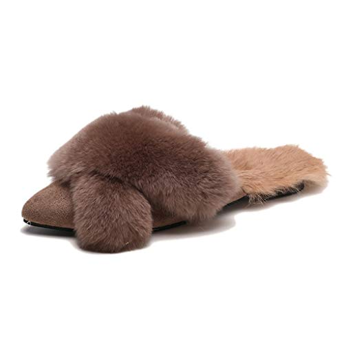 FAY WATERS Women's Slippers Fur Double Belt Fox Warm Plush Rabbit Hair Pointed Toe Slides Flats Ball Loafers Cross-Tied Winter Shoes