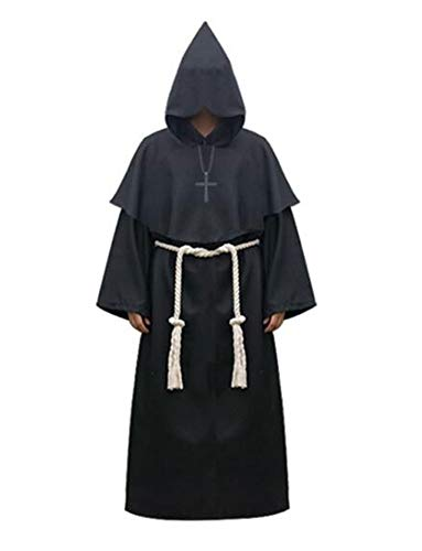 (Indistyle Adult's Cosplay Costumes Holloween Medieval Priest Hooded Robe Cloak Cape)