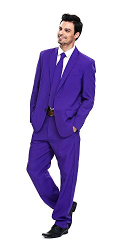 U LOOK UGLY TODAY Men's Party Suit Purple Prince Solid Color Bachelor Party Suit-Medium -