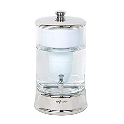 ZeroWater ZBD-040-1 Room Temperature Water Dispenser, 40 Cup, Clear/Chrome