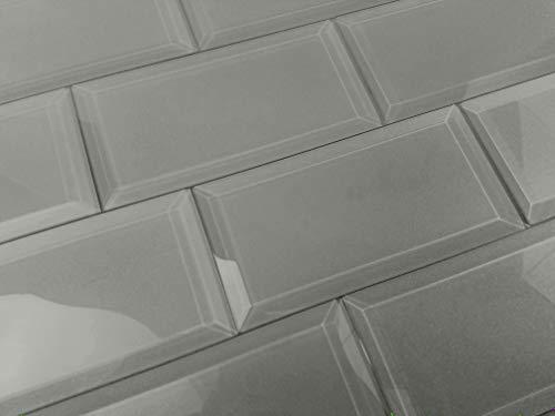 "Abolos Frosted Elegance Glossy Gray 3"" x 6"" Beveled Glass Subway Backsplash Tile"