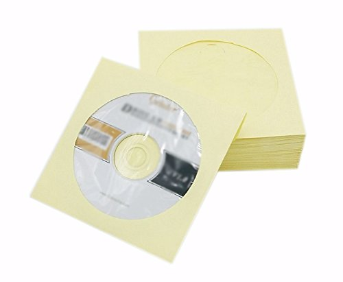 Colorful Cd (Ocharzy Colorful CD DVD Paper Sleeves with Clear Window (200 pack, Light Yellow))