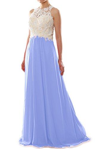 MACloth Women High Neck Lace Chiffon Long Prom Dress Formal Party Ball Gown Cielo azul