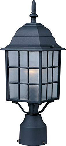 - Maxim 1052BK North Church 1-Light Outdoor Pole/Post Lantern, Black Finish, Clear Glass, MB Incandescent Incandescent Bulb , 25W Max., Dry Safety Rating, 2900K Color Temp, Standard Dimmable, Glass Shade Material, 5520 Rated Lumens