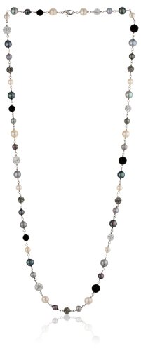 Honora ''Pop Star'' Freshwater Cultured Pearl, Sterling Silver and Pave Crystal Bead Necklace, 36'' by Honora