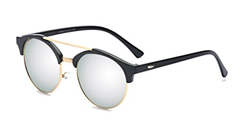 ALWAYSUV Classic Half Frame Mirror Round Lens Double Bridge Sunglasses - Sunglasses Bridge