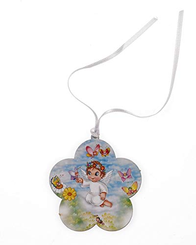 LMM001 4 inch Baby Crib Medal on wood. Angel with Butterflies