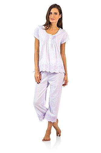 Casual Nights Women's Short Sleeve Floral Capri Pajama Set - Light Purple - XX-Large