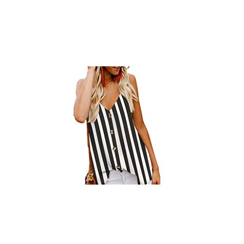 Shusuen Women's Casual V Neck Button Down Strappy Cami Tank Tops Summer Sleeveless Lace Eyelash Shirts Blouses ()