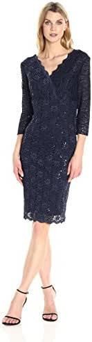 Alex Evenings Women's Short Lace Dress with Illusion Sleeves