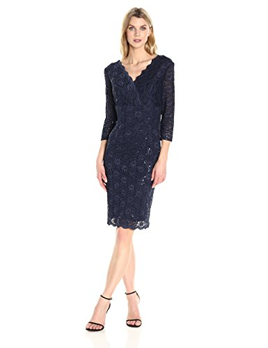 Alex Evenings Women's Short Lace Dress with Illusion Slee...