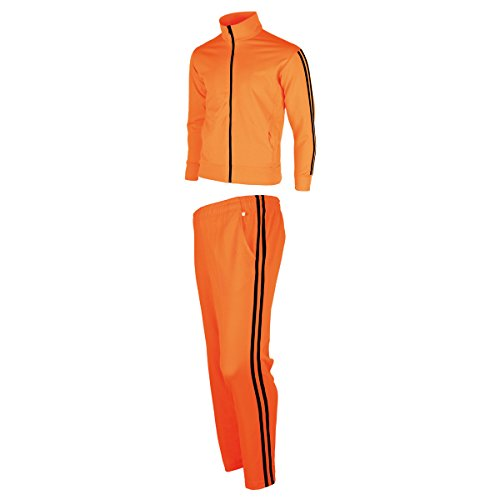 myglory77mall Men's Running Jogging Track Suit Jacket and Pants Warm up Pants Gym Training Wear L US(2XL Asian Tag) Neon Orange