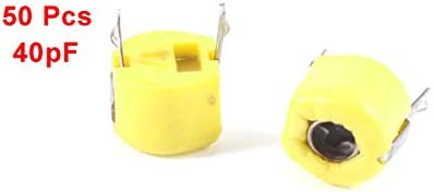 sourcingmap 50 Pcs 6mm Through Hole Trimmer Variable Capacitors 40pF Yellow