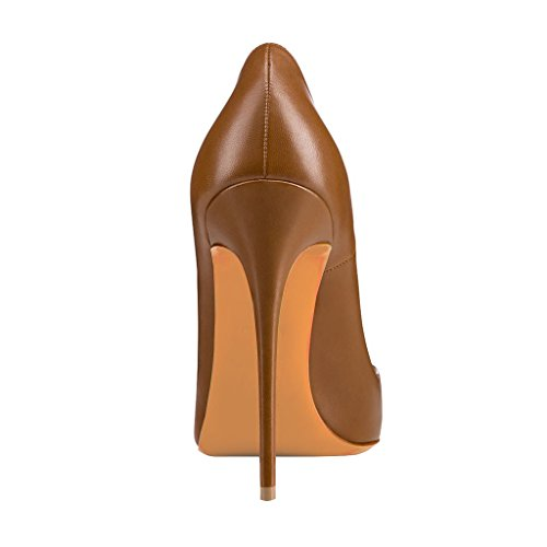 Size Toe Pumps High Serpent Print Heels Shoes Pointy 4 Stilettos FSJ Brown Dress Multicolor 15 WpvxgT