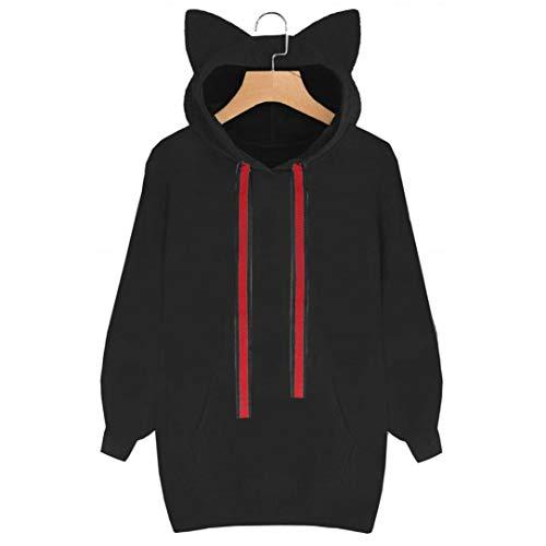 Makeupstore Womens Teen Girls Cute Cat Ear Sweatshirt Crop Top Hoodies Long Sleeve Pullover